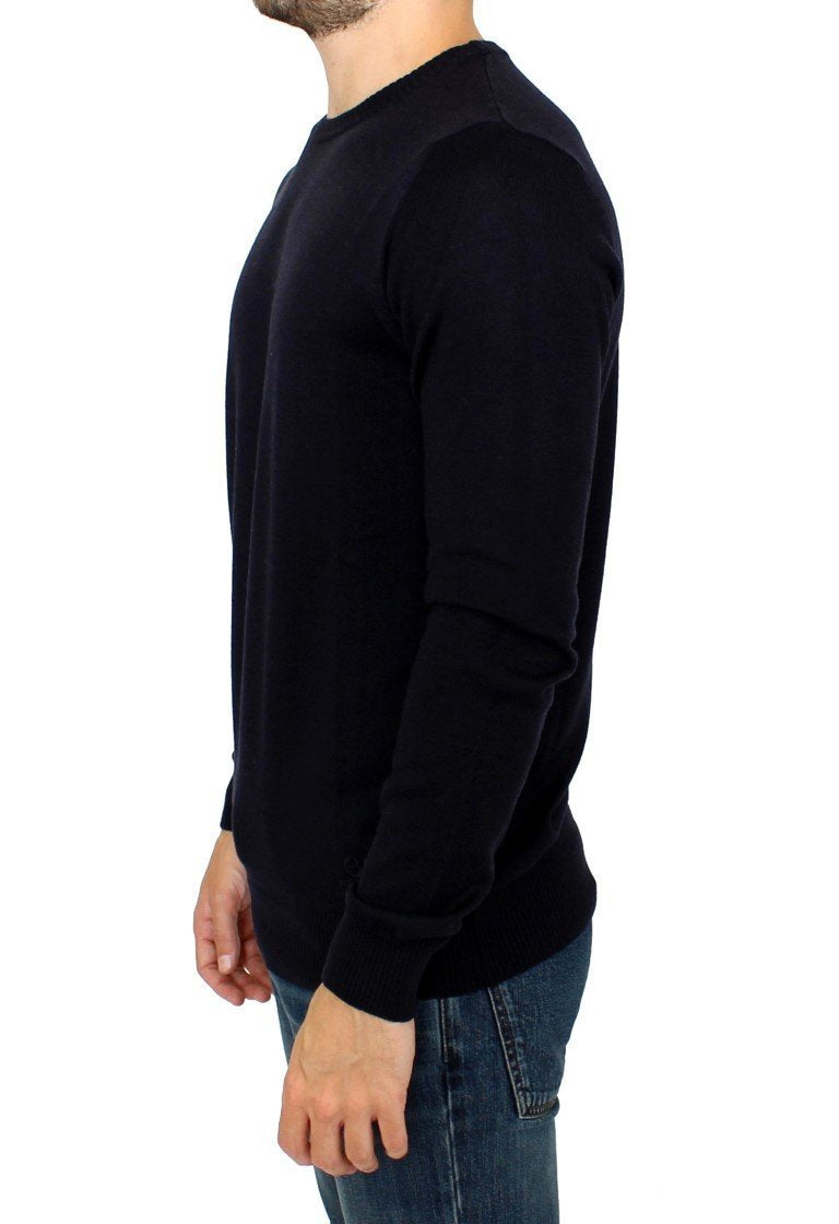 Black Knitted Wool Blend Pullover Sweater