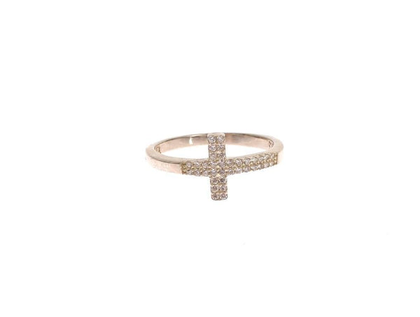 Silver CZ Cross 925 Ring