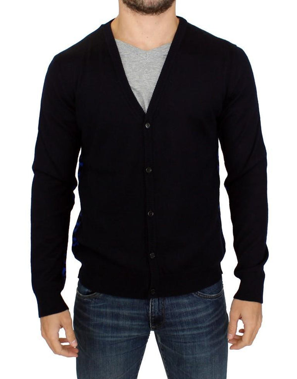 Dark blue wool cardigan
