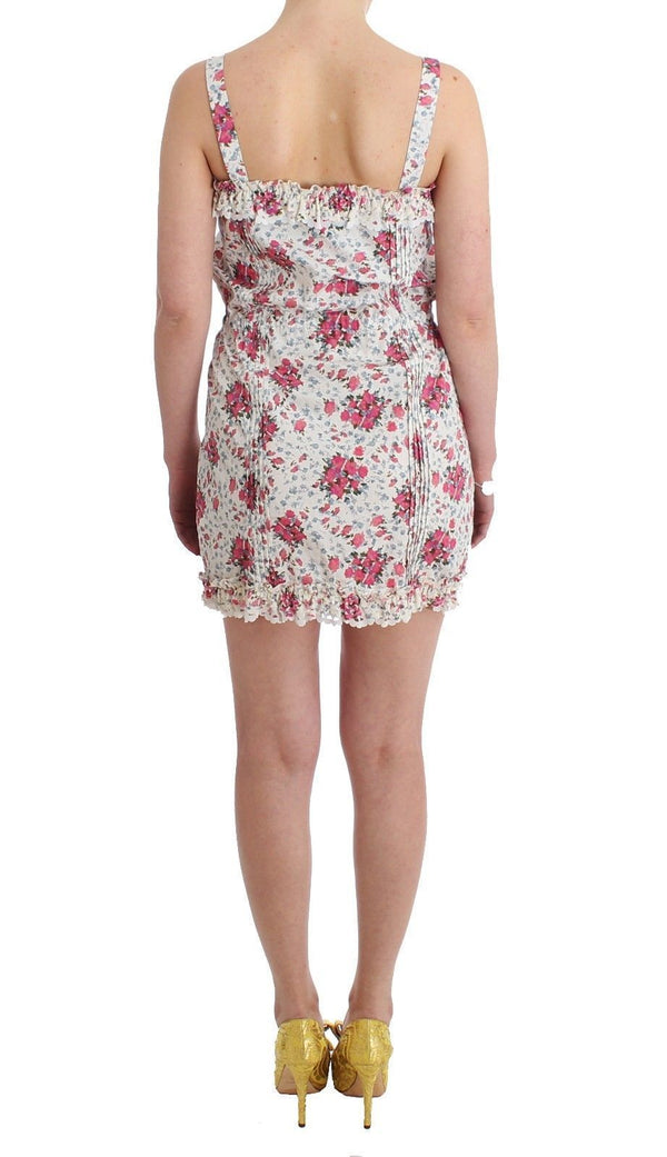 Beachwear Pink Floral Beach Mini Dress Short