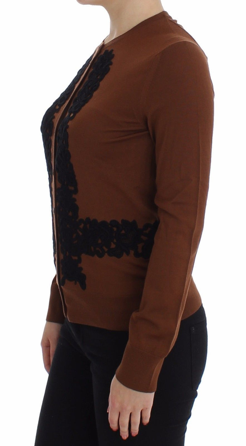 Brown Wool Black Lace Cardigan Sweater