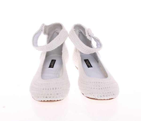 White Cotton Knitted Ballerina Flat Shoes