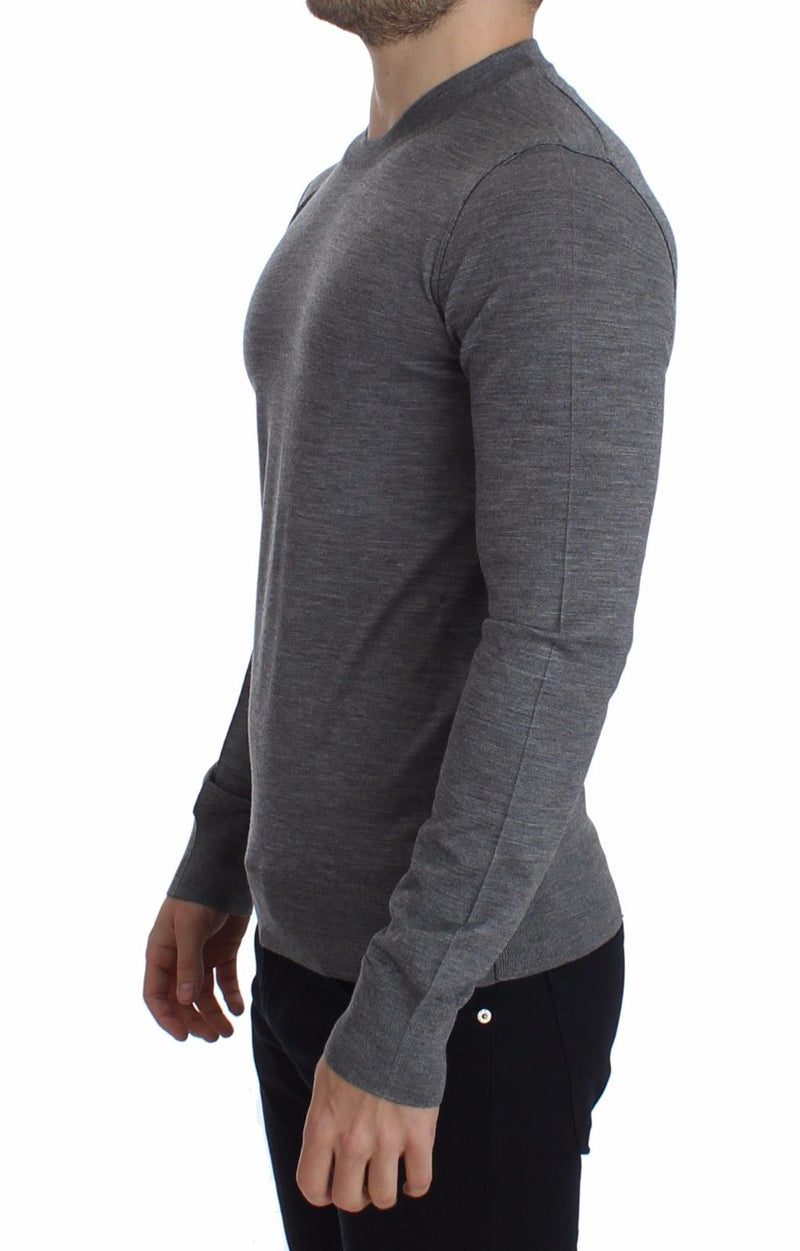 Gray Wool Crew-neck Sweater Pullover Top