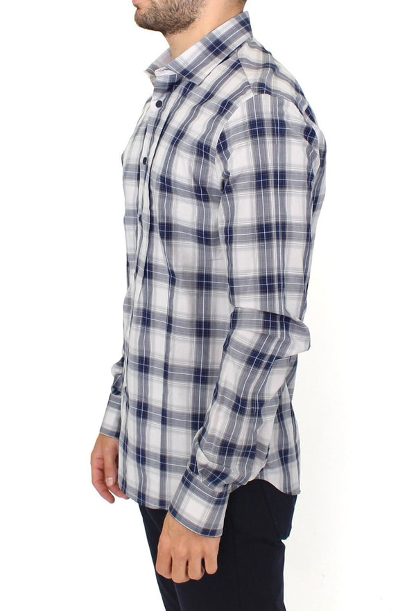Blue Checkered Cotton Casual Shirt Top