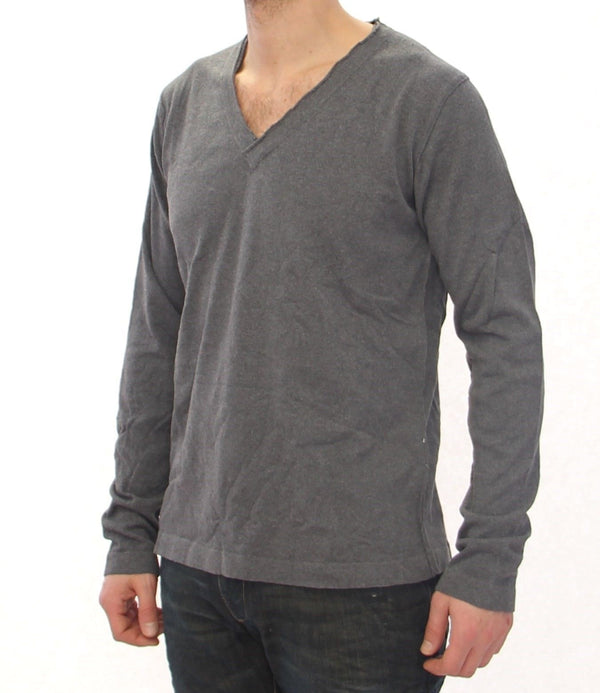 Gray Cotton Logo Crew-neck Sweater