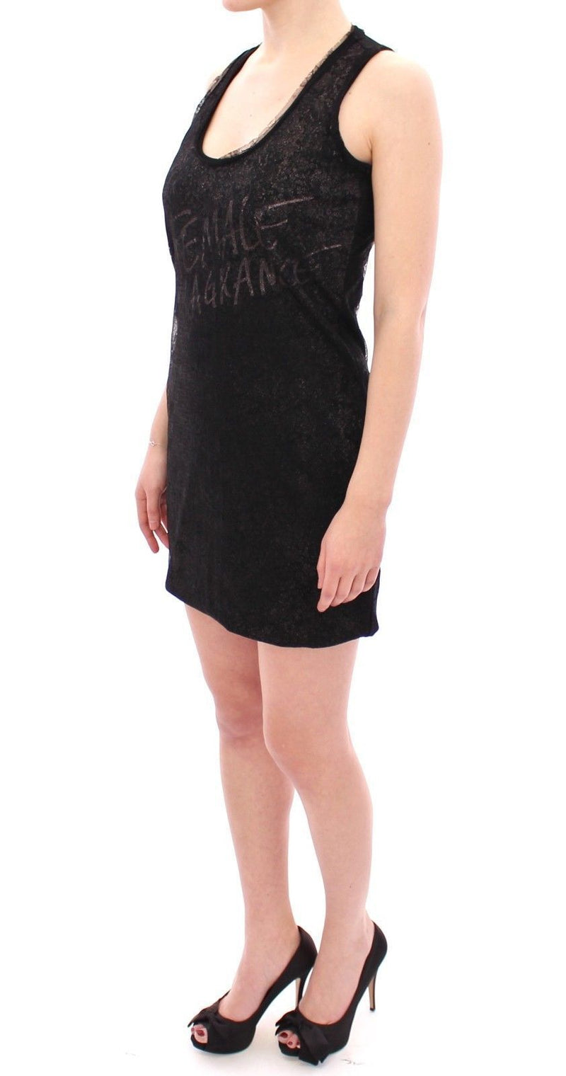 Black Lace Lined Stretch Mini Dress
