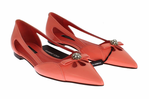 Pink Leather Crystal Flats Loafers Shoes