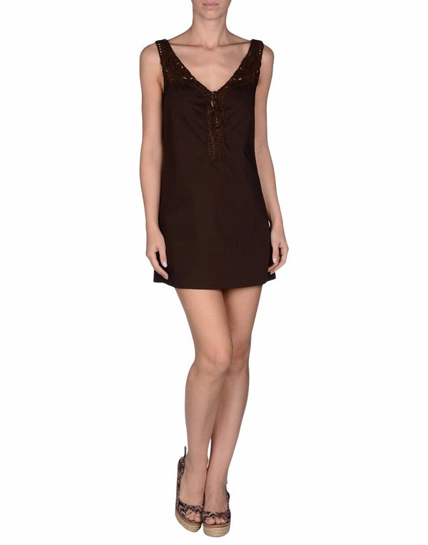 Beachwear Brown Cotton Stretch Tunic Dress