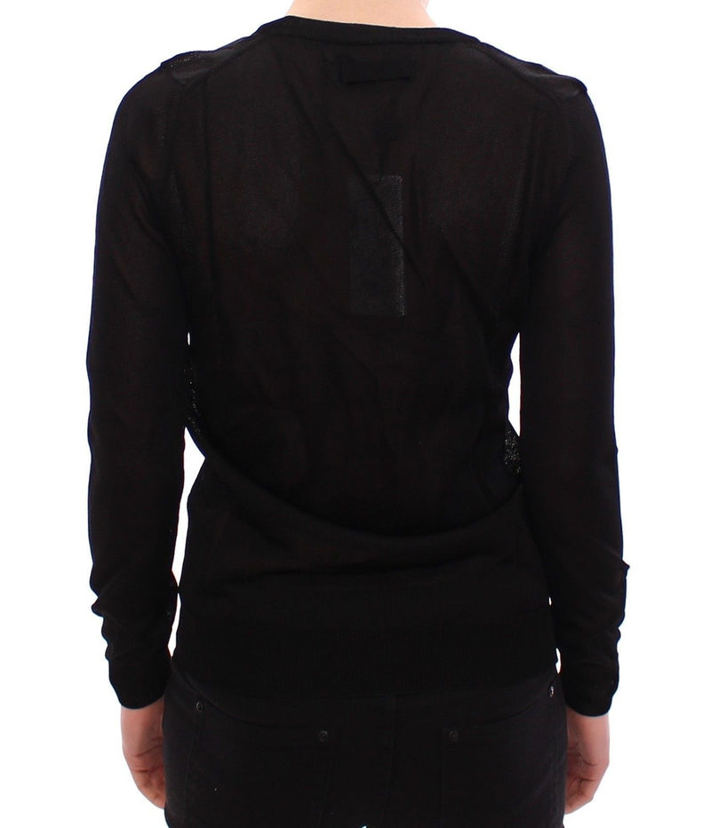 Black Crewneck Long Sleeve Sweater Top