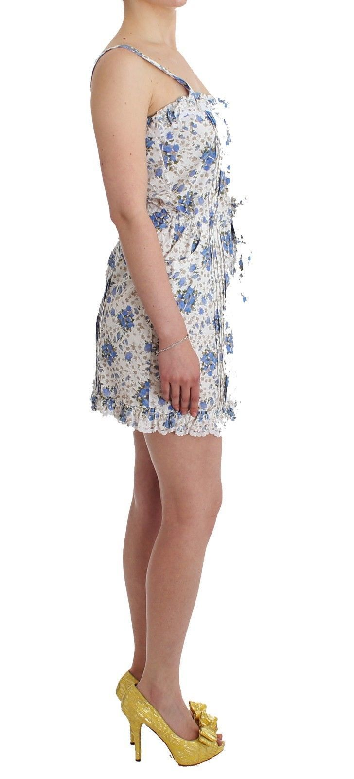 Beachwear Blue Floral Beach Mini Dress Short