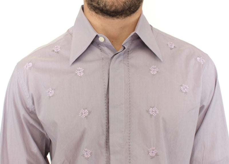 Light Purple Floral Cotton Casual Shirt Top