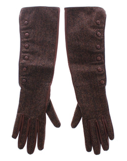 Brown Wool Lambskin Leather Elbow Gloves
