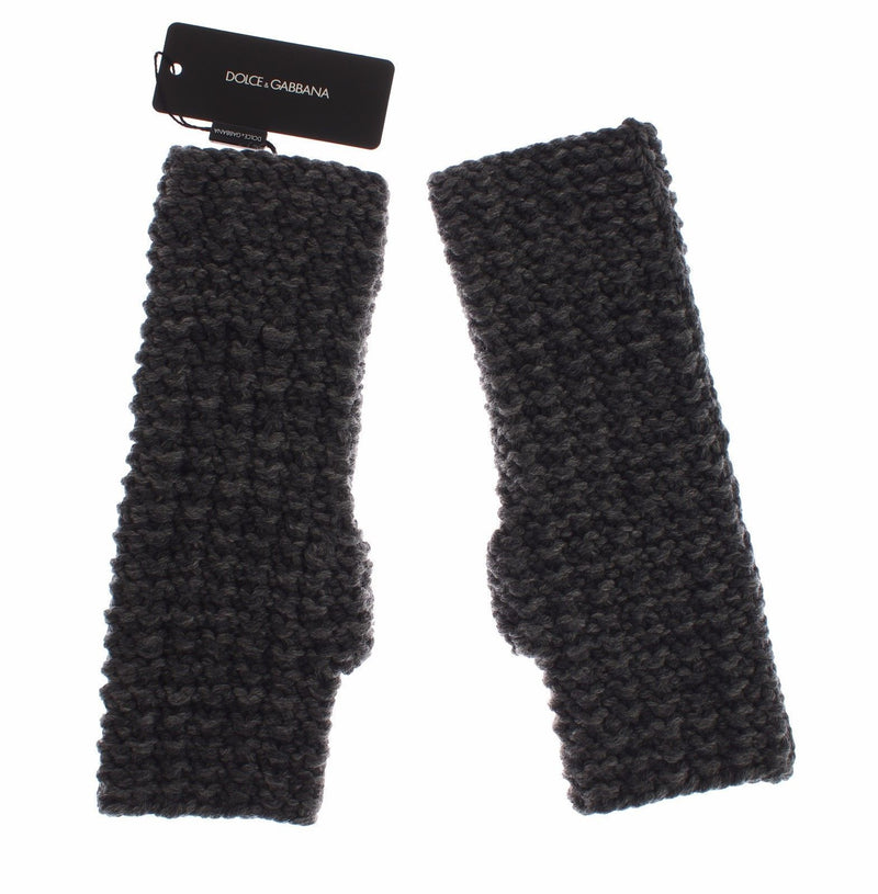 Gray Knitted Wool Fingerless Mens Gloves