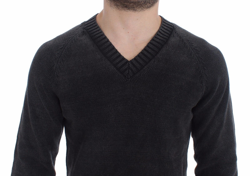 Gray Cotton Knitted V-neck Sweater Pullover Top