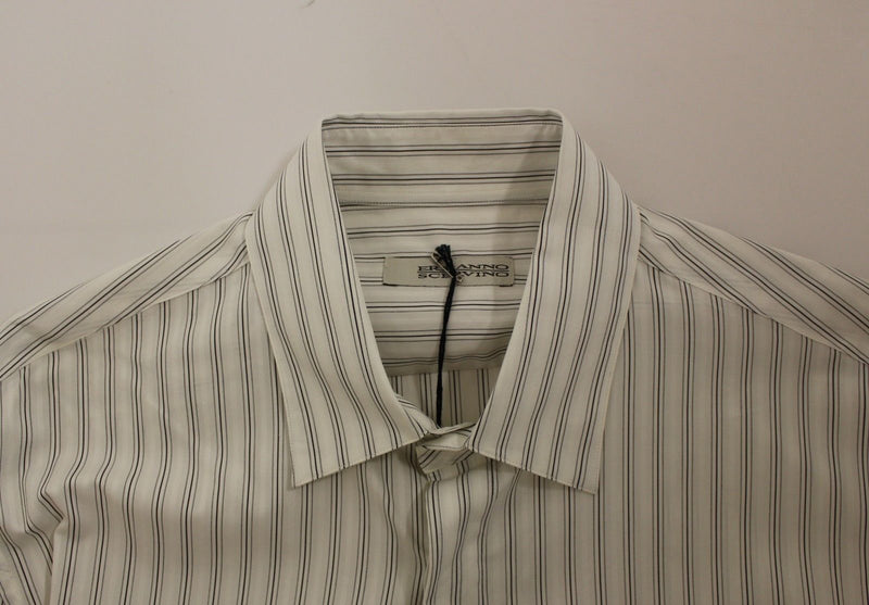 White Black Striped Regular Fit Casual Shirt