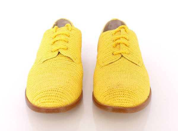 Yellow Raffia Woven Oxfords Broques Shoes