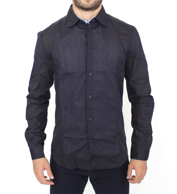 Black Slim Fit Cotton Casual Shirt Top