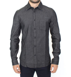 Gray Stretch Denim Jeans Cotton Casual Shirt