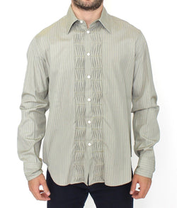 Green Striped Cotton Casual Long Sleeve Shirt
