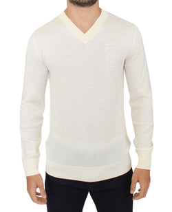 Off White Wool Blend V-neck Pullover Sweater