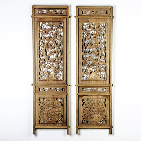 Vintage Pair Of Hand Carved Decorative Panels from Canopy Bed ADVSC09202001