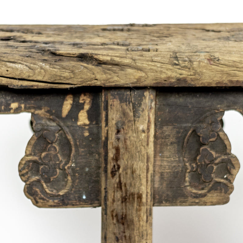 Rustic Antique Scholars Bench With Carved Spandrels ADAB09201701
