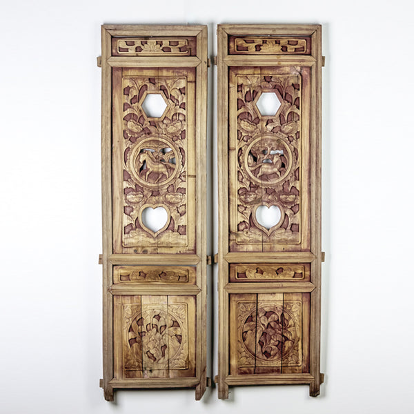 Vintage Pair Of Hand Carved Decorative Panels from Canopy Bed ADVSC09202003