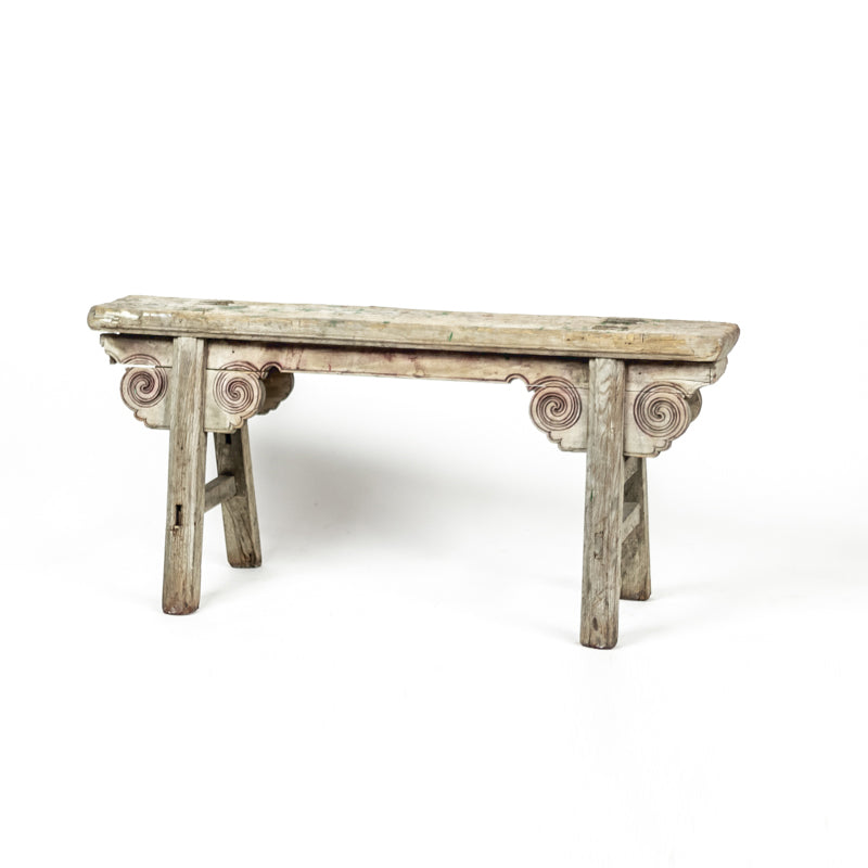 Rustic Antique Scholars Bench With Carved Spandrels ADAB09201705