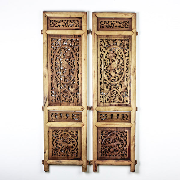Vintage Pair Of Hand Carved Decorative Panels from Canopy Bed ADVSC09202009