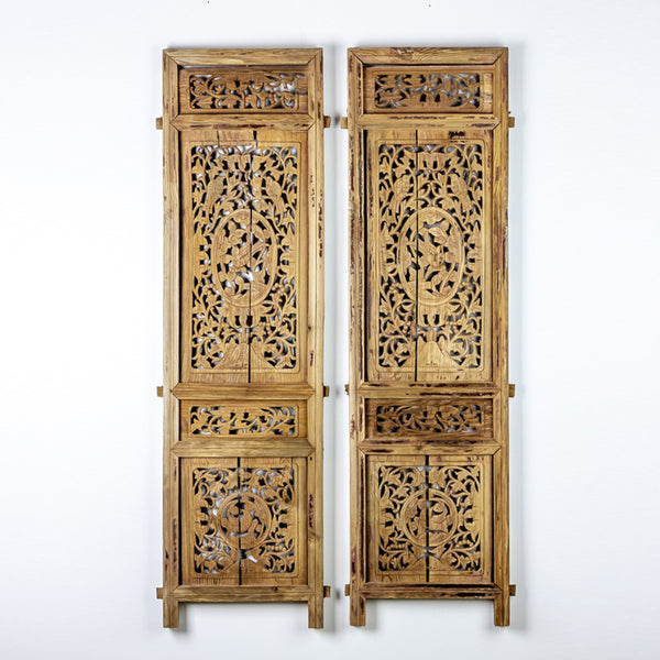 Vintage Pair Of Hand Carved Decorative Panels from Canopy Bed ADVSC09202015