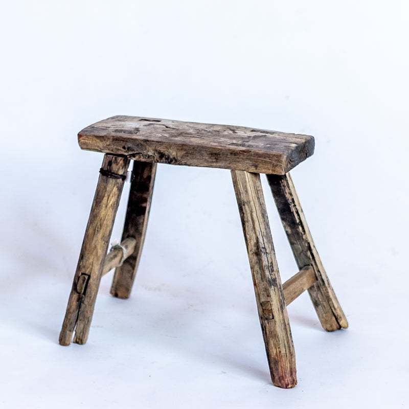 Vintage Small Elm Workers Stool 16