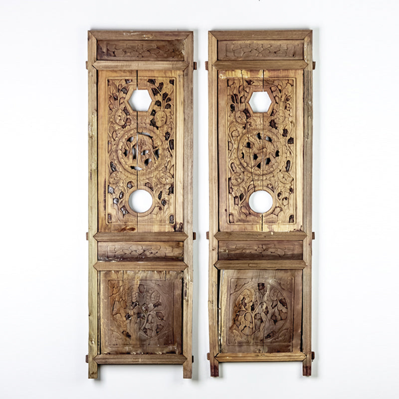 Vintage Pair Of Hand Carved Decorative Panels from Canopy Bed ADVSC09202017