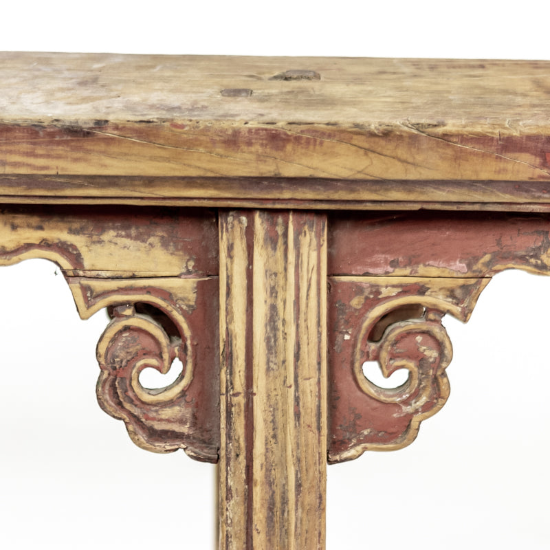 Rustic Antique Scholars Bench With Carved Spandrels ADAB09201717