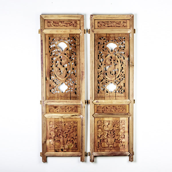 Vintage Pair Of Hand Carved Decorative Panels from Canopy Bed ADVSC09202019