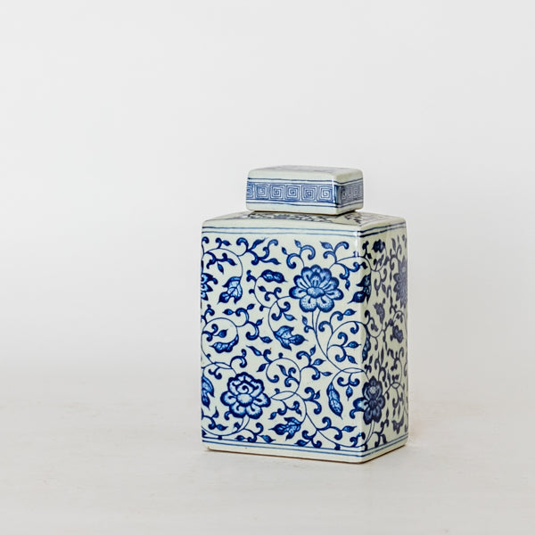 Ceramic Blue and White Floral Pattern Loose Leaf Tea Container TB0517132BB-TABLE DÉCOR-Wu & McHugh