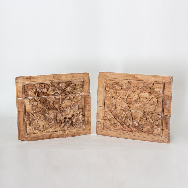 Vintage Pair Of Hand Carved Decorative Panel YX1116050CA-WALL DÉCOR-Wu & McHugh