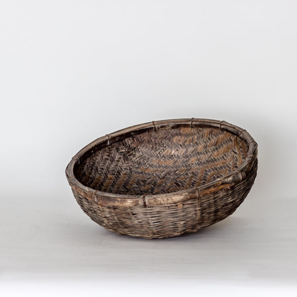 Vintage Handmade Basket with Unique Decorative Pattern YX1116004CB-BUCKETS & BASKETS-Wu & McHugh