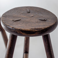 Antique Round Wooden Stool AD0416029-SEATING-Wu & McHugh