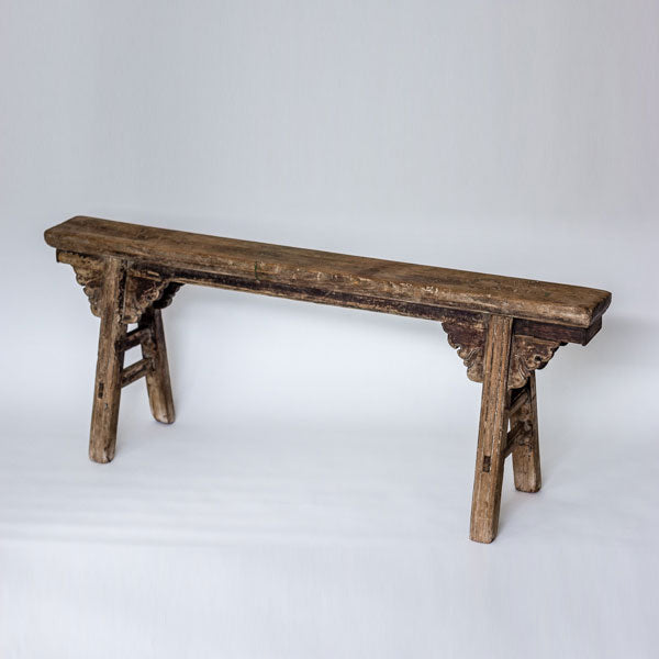 Antique Scholars Bench With Carved Spandrels SQ0517006FA-SEATING-Wu & McHugh
