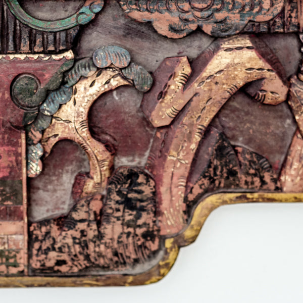 Antique Hand Carved and Painted Decorative Canopy Bed Panel YX0517063-WALL DÉCOR-Wu & McHugh