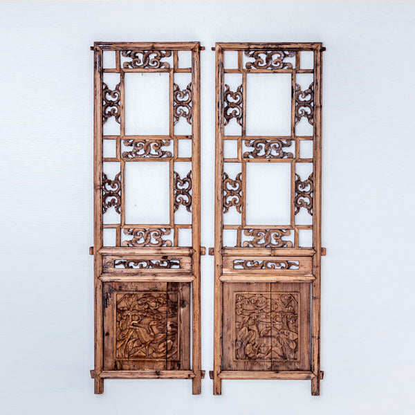 Vintage Pair Of Hand Carved Decorative Panels from Canopy Bed SQ0517012CA