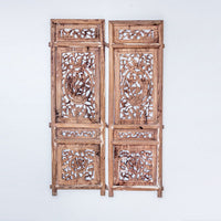 Vintage Pair Of Hand Carved Decorative Panels from Canopy Bed SQ0517012CB-WALL DÉCOR-Wu & McHugh