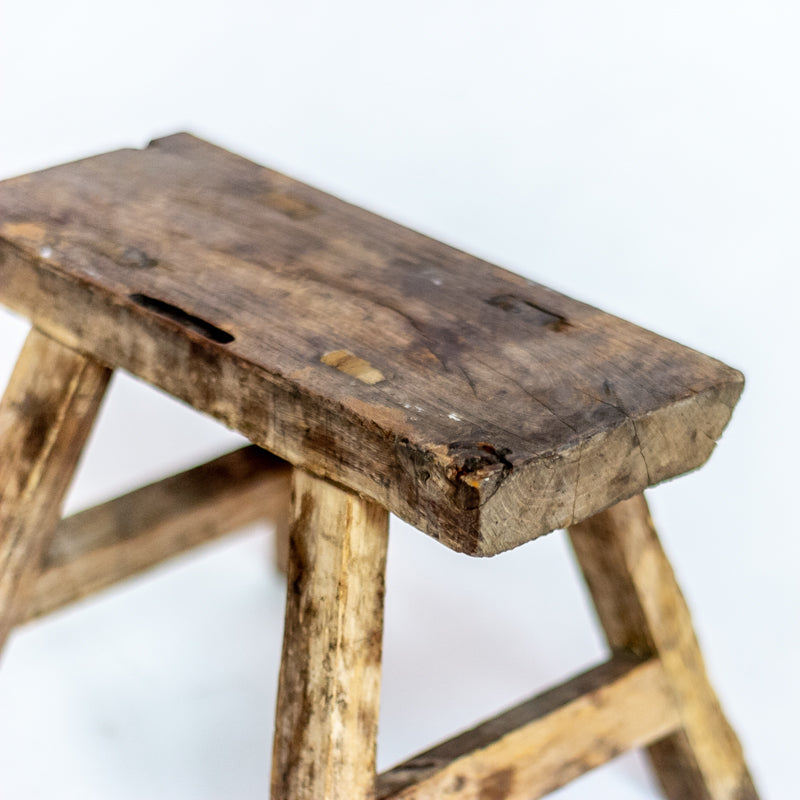 Vintage Small Elm Workers Stool 20