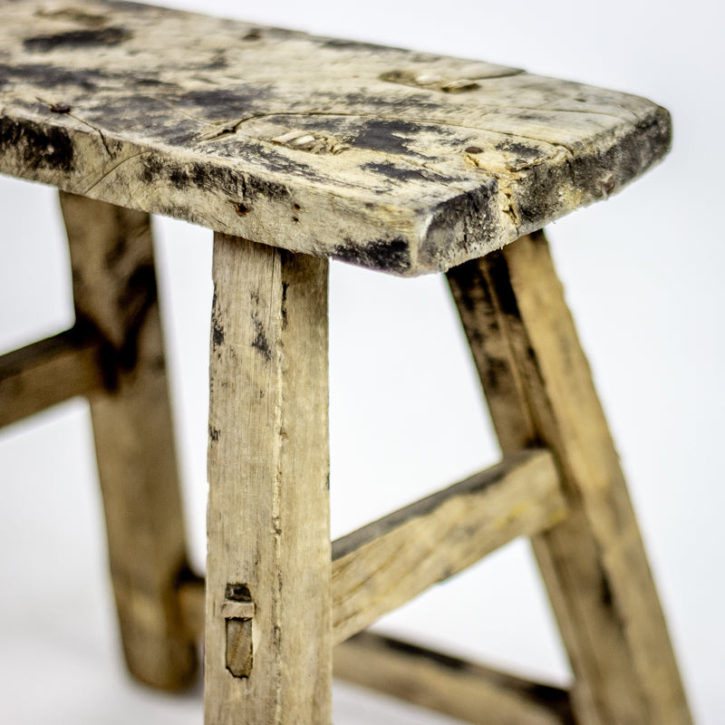 Vintage Small Elm Workers Stool 82