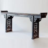Antique Long and Narrow Altar Table with Worn Black Patina AD0416002-TABLES-Wu & McHugh