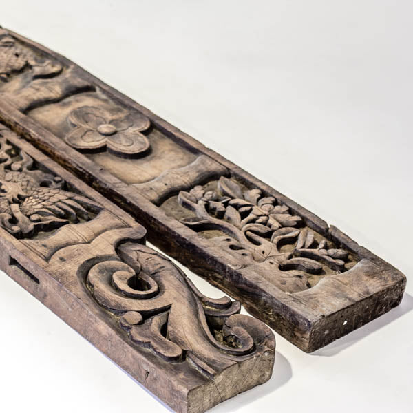 Antique Pair Of Handcarved Wooden Decorative Architectual Panels AD0716020BA-ARCHITECTURAL ELEMENTS-Wu & McHugh
