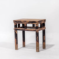 Antique Square Stool With Round Legs AD0716005-SEATING-Wu & McHugh