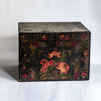 Vintage Large Trunk with Hand Painted Flower Pattern AD0018124BA-CABINETS & STORAGE-Wu & McHugh