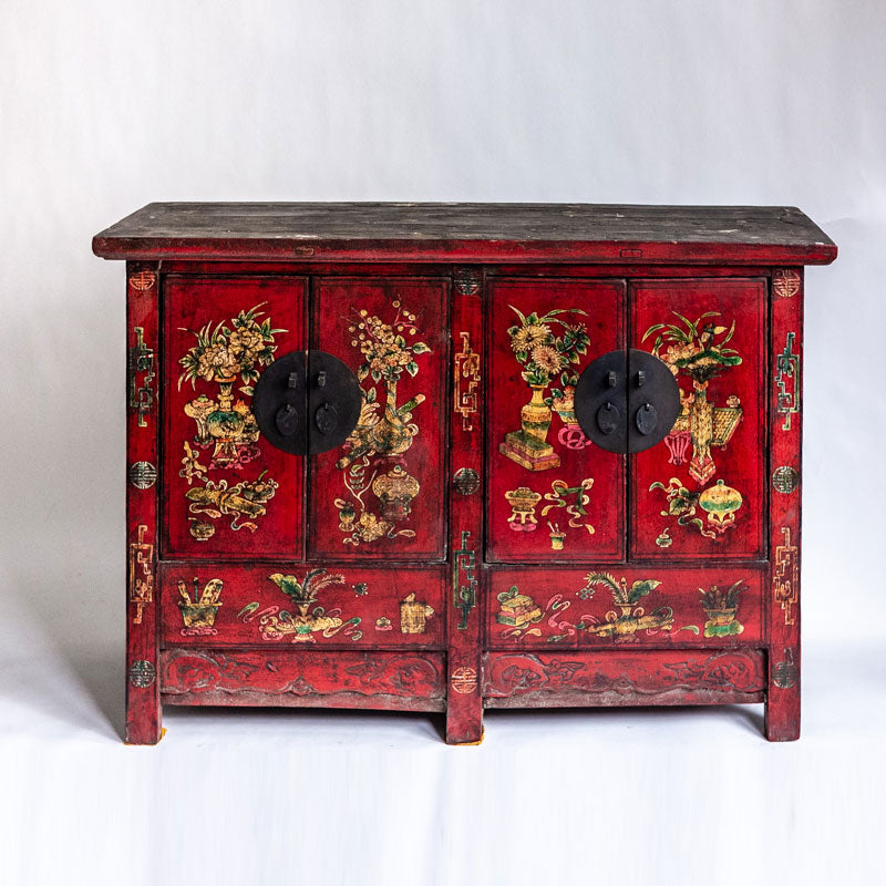 Antique Four Door Cabinet with Red Painting AD0018125-CABINETS & STORAGE-Wu & McHugh