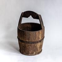 Antique Round Wooden Water Bucket YX0018086-BUCKETS & BASKETS-Wu & McHugh